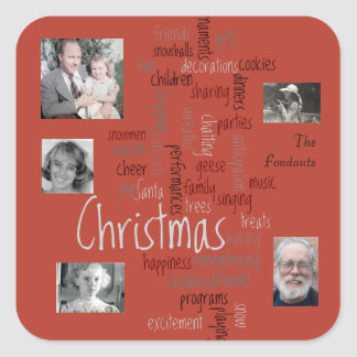 Red Background Word Art Christmas Photo Template Square Sticker