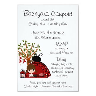 Red Backyard Campout Card