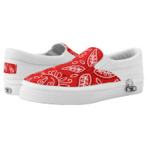 Red Badana pattern slip on shoes