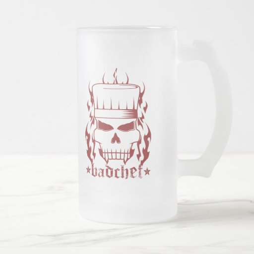 Red Badchef 16 Oz Frosted Glass Beer Mug