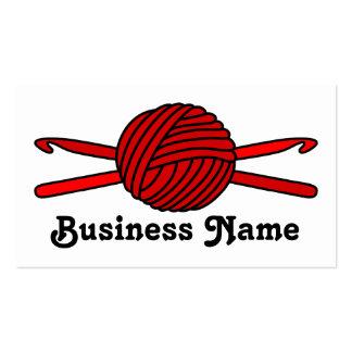 Red Ball of Yarn & Crochet Hooks Business Card Template