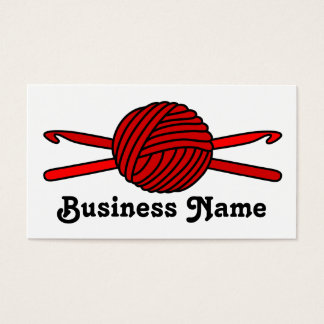 Red Ball of Yarn & Crochet Hooks Business Card