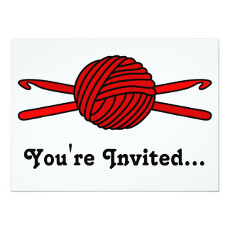 Red Ball of Yarn & Crochet Hooks 5.5x7.5 Paper Invitation Card