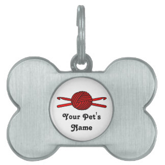 Red Ball of Yarn & Crochet Hooks Pet Name Tags