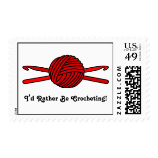 Red Ball of Yarn & Crochet Hooks Postage