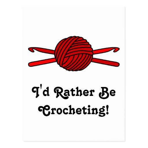 Red Ball of Yarn & Crochet Hooks Postcard