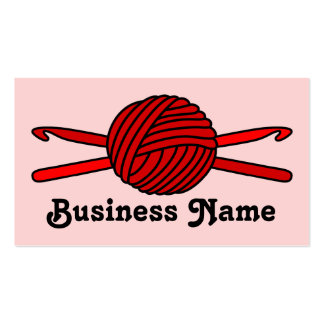 Red Ball of Yarn & Crochet Hooks (Red Background) Business Cards