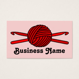 Red Ball of Yarn & Crochet Hooks (Red Background) Business Card