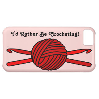 Red Ball of Yarn & Crochet Hooks (Red Background) Cover For iPhone 5C