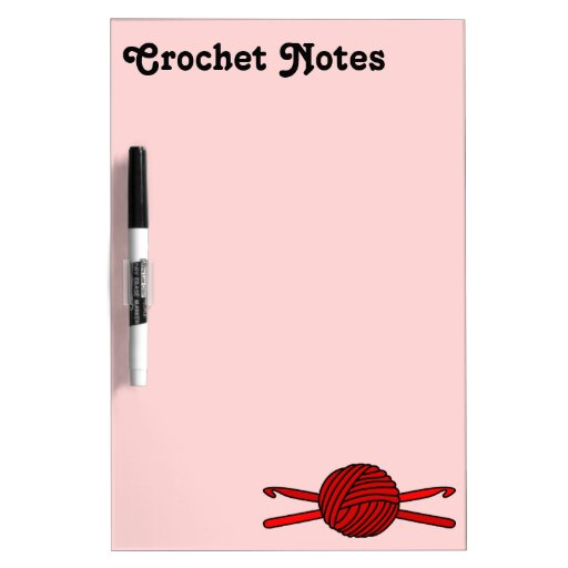 Red Ball of Yarn & Crochet Hooks (Red Background) Dry-Erase Boards
