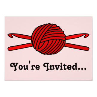 Red Ball of Yarn & Crochet Hooks (Red Background) 5.5x7.5 Paper Invitation Card