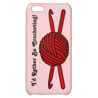 Red Ball of Yarn & Crochet Hooks (Red Background) iPhone 5C Covers