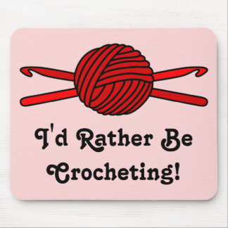 Red Ball of Yarn & Crochet Hooks (red background) Mouse Pad