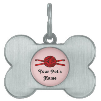 Red Ball of Yarn & Crochet Hooks (Red Background) Pet Name Tags