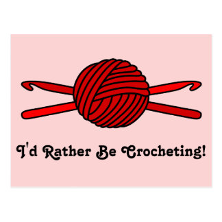 Red Ball of Yarn & Crochet Hooks (Red Background) Postcard