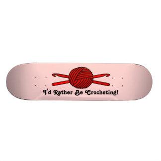 Red Ball of Yarn & Crochet Hooks (Red Background) Skateboard
