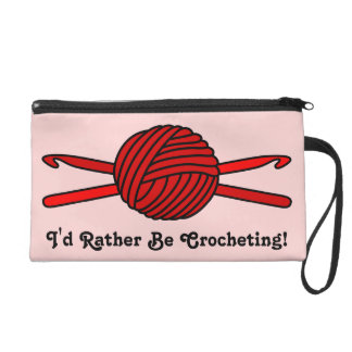 Red Ball of Yarn & Crochet Hooks (Red Background) Wristlet