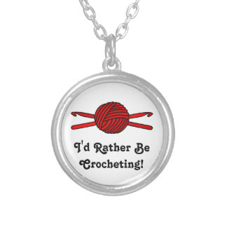 Red Ball of Yarn & Crochet Hooks Round Pendant Necklace
