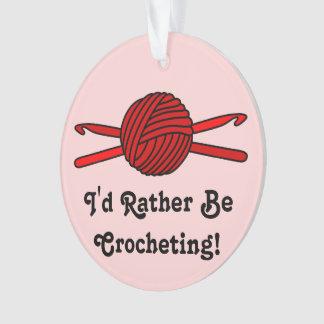 Red Ball of Yarn & Crochet Hooks (Version 2) Ornament