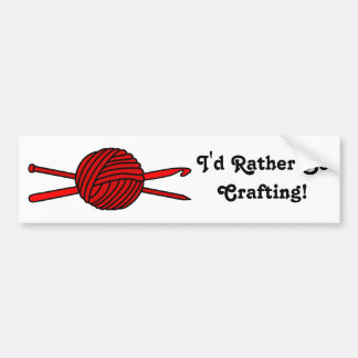 Red Ball of Yarn (Knit & Crochet) Bumper Sticker