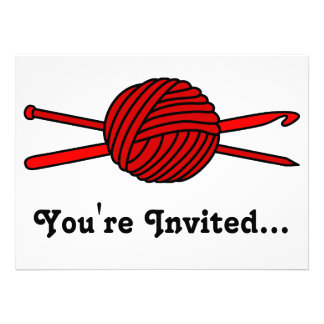 Red Ball of Yarn (Knit & Crochet) Personalized Invites