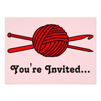Red Ball of Yarn (Knit & Crochet) Custom Invite