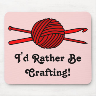 Red Ball of Yarn (Knit & Crochet) Mouse Pad