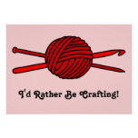Red Ball of Yarn (Knit & Crochet) Posters