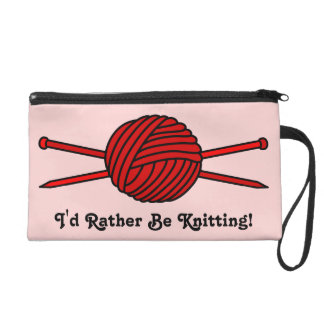 Red Ball of Yarn & Knitting Needles Wristlet Clutches
