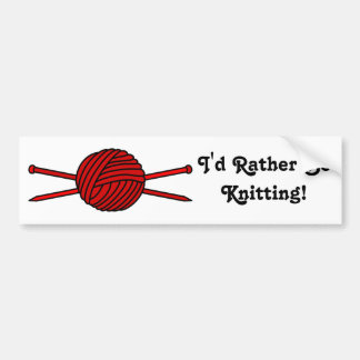 Red Ball of Yarn & Knitting Needles Bumper Sticker
