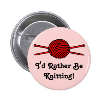 Red Ball of Yarn & Knitting Needles 2 Inch Round Button