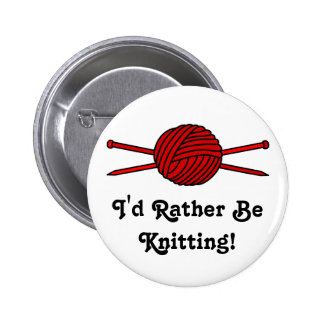 Red Ball of Yarn & Knitting Needles Button