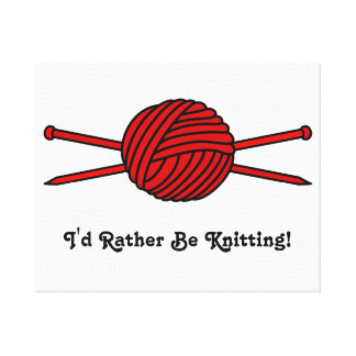 Red Ball of Yarn Knitting Needles Stretched Canvas Prints