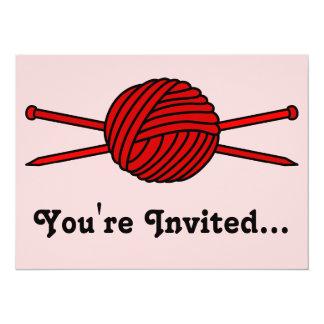 Red Ball of Yarn & Knitting Needles Card