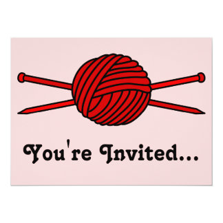 Red Ball of Yarn & Knitting Needles 5.5x7.5 Paper Invitation Card