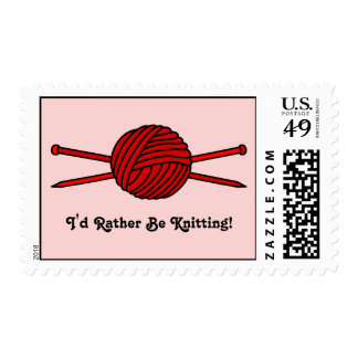 Red Ball of Yarn & Knitting Needles Postage