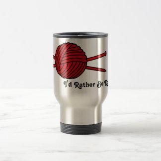 Red Ball of Yarn & Knitting Needles Travel Mug