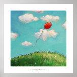 Red balloon beautiful day happy fun original art print