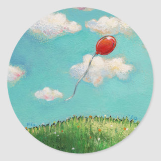 Red Balloon - blue sky beautiful day art Classic Round Sticker