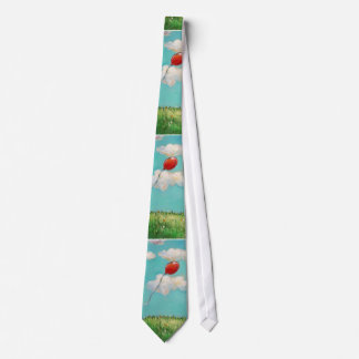 Red Balloon - blue sky beautiful day art Neck Tie