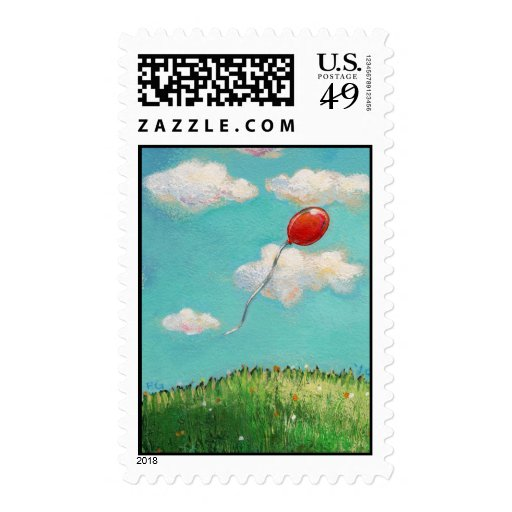 Red Balloon - blue sky beautiful day art Postage Stamps