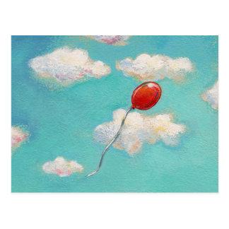 Red Balloon - blue sky beautiful day art Postcard