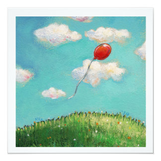 Red Balloon blue sky beautiful day fun party art Card