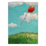Red Balloon blue sky beautiful day fun unique art Card