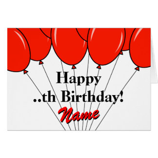 Red balloon bouquet Birthday greeting card