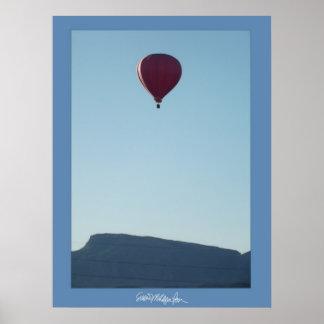Red Balloon over Colorado Mountain Poster