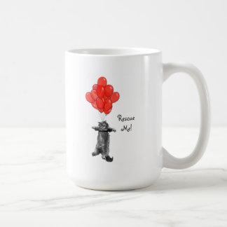 Red Balloonns Rescue Me Ceramic  Coffee Mug