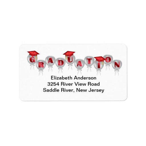 Red Balloons Graduation Address Labels | Zazzle