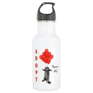 Red Balloons Rescue Me Stainless Steel Water Bottle