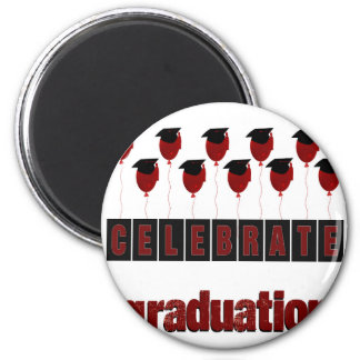 Red Balloons wearing Graduation Caps, Celebrate Gr 2 Inch Round Magnet